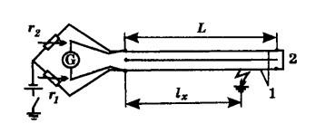 Схема определения места повреждения кабеля методом петли
